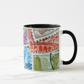 A collage of 1920's Swiss postage stamps Mug