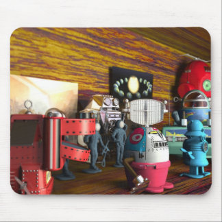 A Collection of 3D Vintage Space Toys Mousepad