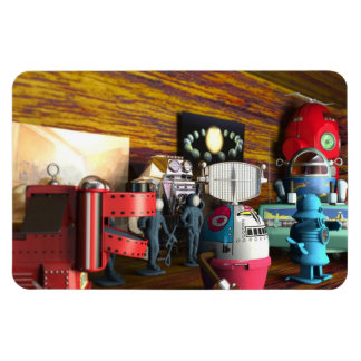 A Collection of 3D Vintage Space Toys Rectangular Photo Magnet