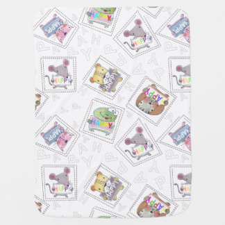 A collection of cute hand painted adorableanimals baby blanket