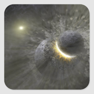 A collision between massive objects in space square sticker