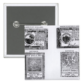 A colonial six dollar bill 15 cm square badge
