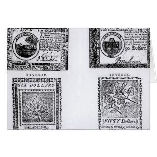 A colonial six dollar bill card