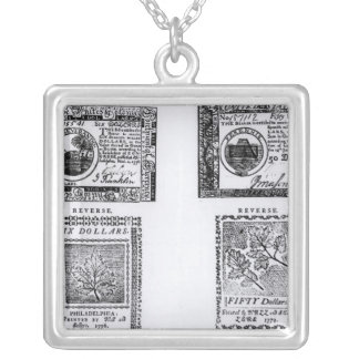 A colonial six dollar bill silver plated necklace