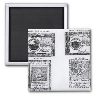 A colonial six dollar bill square magnet