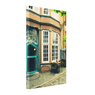 A Colorful Cafe In The Schnoor Region In Bremen Canvas Print
