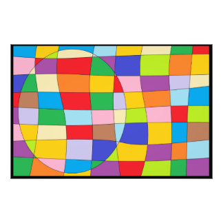 A Colorful Circle on Colorful Rectangle Photo Print