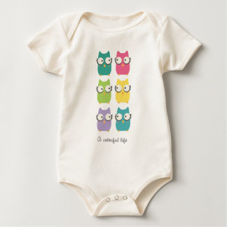 A Colorful Life (owls) for baby Baby Bodysuit