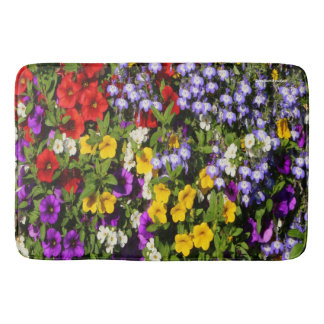 A Colorful Pastiche of Summer Annual Flowers Bath Mat
