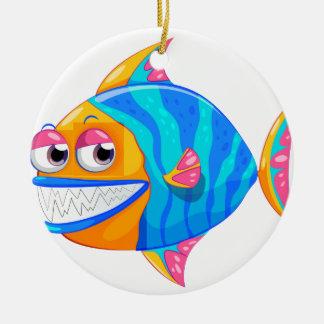 A colorful piranha round ceramic ornament