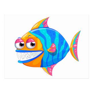 A colorful piranha postcard