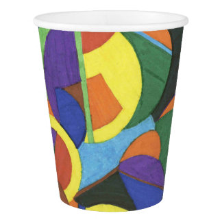 A colourful abstract design paper cup