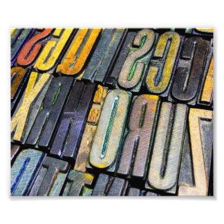 a colourful array of vintage letterpress type photo print