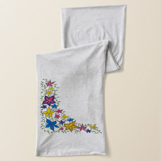 A Colourful Curving Flower Collection Scarf