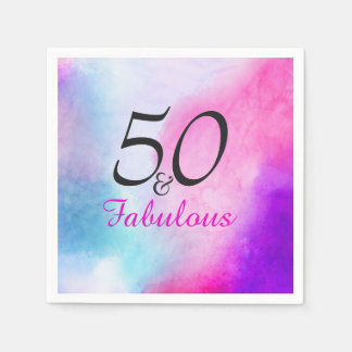 A colourful, modern 50th birthday design disposable serviette