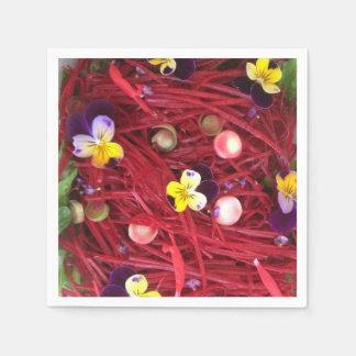 A colourful salad of flowers disposable serviette