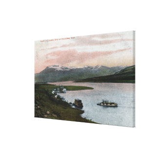 A Columbia River Riverboat Scene Stretched Canvas Print