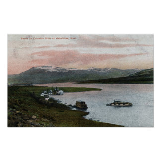 A Columbia River Riverboat Scene Poster