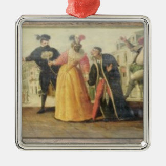 A Commedia Dell'Arte Troupe Before a Renaissance T Christmas Ornament