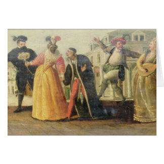 A Commedia Dell'Arte Troupe Before a Renaissance T Greeting Card