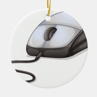 A computer mouse round ceramic decoration