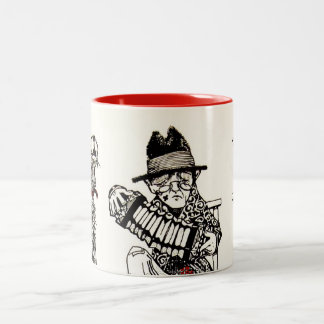A Concert Party with Dog Crow Old Man Accordion Two-Tone Mug