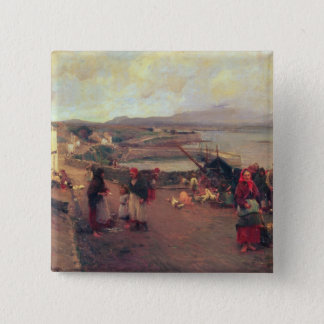 A Connemara Village - The Way To The Harbour, 1898 15 Cm Square Badge