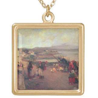 A Connemara Village - The Way To The Harbour, 1898 Gold Plated Necklace