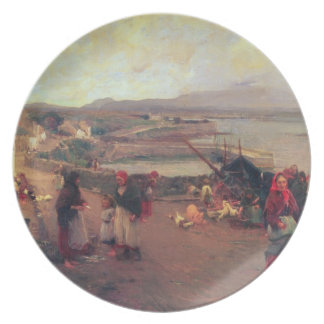 A Connemara Village - The Way To The Harbour, 1898 Plate