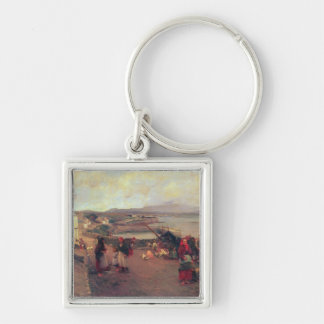 A Connemara Village - The Way To The Harbour, 1898 Silver-Colored Square Key Ring