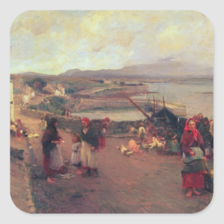 A Connemara Village - The Way To The Harbour, 1898 Square Sticker