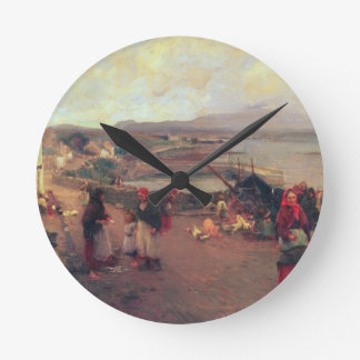 A Connemara Village - The Way To The Harbour, 1898 Wall Clock