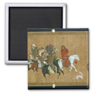 A convoy of Mongols, Chinese, 14th century Square Magnet