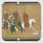 A convoy of Mongols, Chinese, 14th century Square Sticker