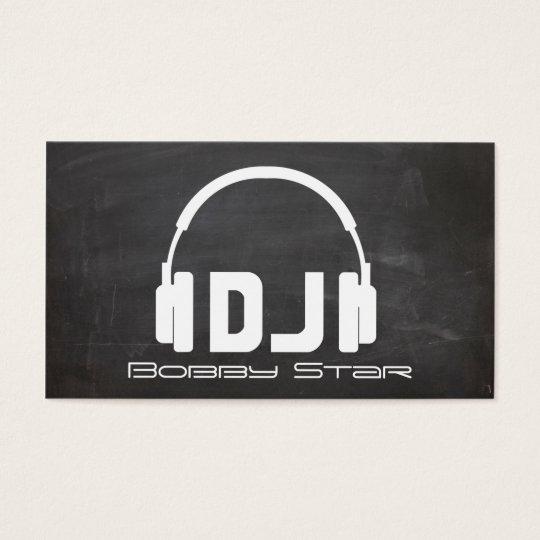 A cool DJ headphone chalkboard laser business card