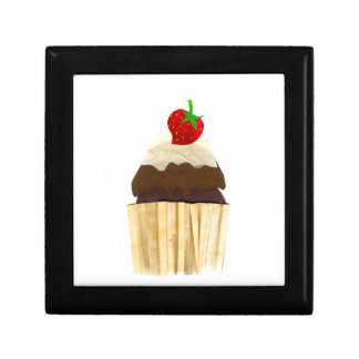 A Cool Gift Box with Chocolate Strawberry Cupcake