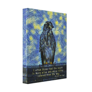 A Cooper's Hawk on a Roof on a Starry Night Canvas Print