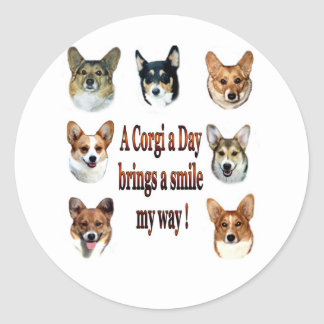 A Corgi a Day Brings a Smile 7 Classic Round Sticker