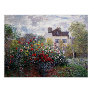 A Corner of the Garden with Dahlias by Monet Print