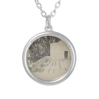 A Corner of the Haram by James Tissot Round Pendant Necklace