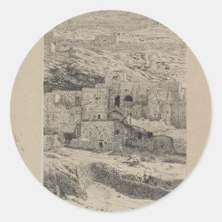 A Corner of the Village of Siloam by James Tissot Round Sticker