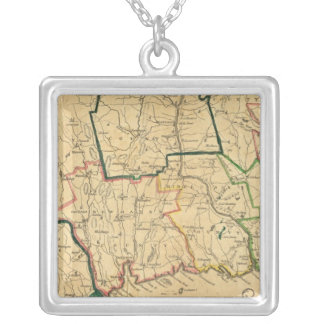 A Correct Map of Connecticut Silver Plated Necklace