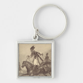 A Cossack Horseman Silver-Colored Square Key Ring