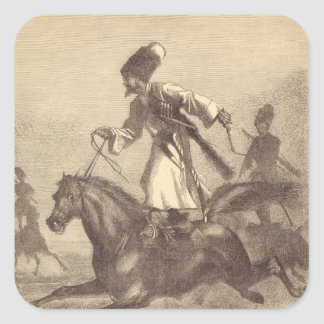A Cossack Horseman Square Sticker