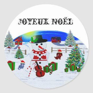 A Country Christmas Round Sticker
