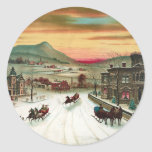 A Country Christmas Scene Classic Round Sticker