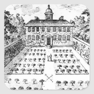 A country house garden from The Gentlemen s Recr Square Sticker
