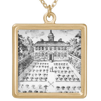 A country house garden, from 'The Gentlemen's Recr Gold Plated Necklace