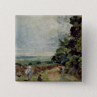 A Country road with trees and figures 15 Cm Square Badge