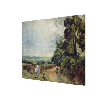 A Country road with trees and figures Canvas Print